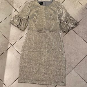 Silver sheath dress with drop puff sleeves (4)